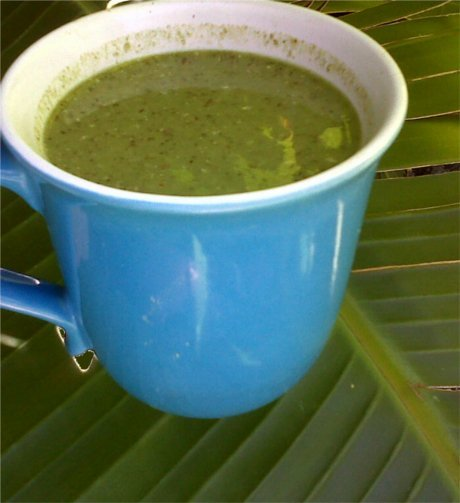 This green smoothie combines daily essentials: ground flax seeds, wheat grass powder and  vegan protein powder with banana.