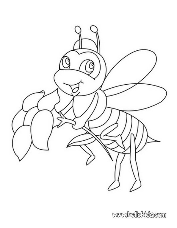 Print bee colouring in picture. Photo © www.hellokids.com