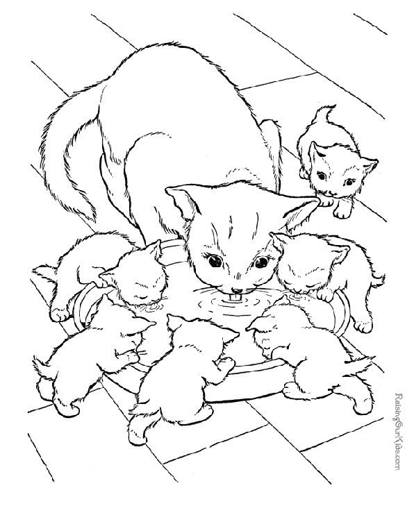 Print cat and kittens picture to colour in. Photo © RaisingOurKids.com
