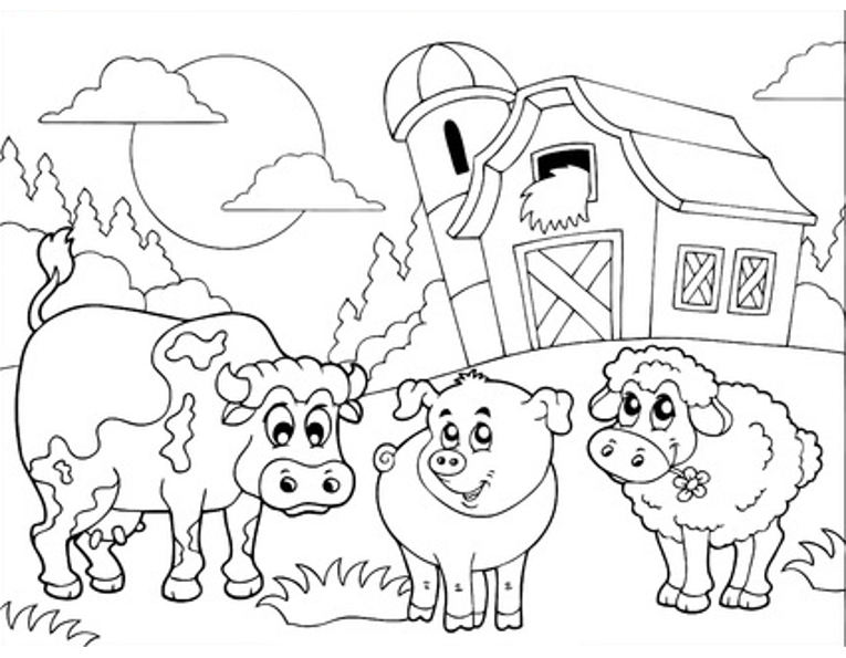 Print cow, pig and sheep colouring in picture. Photo © 123RF Klara Viskova.