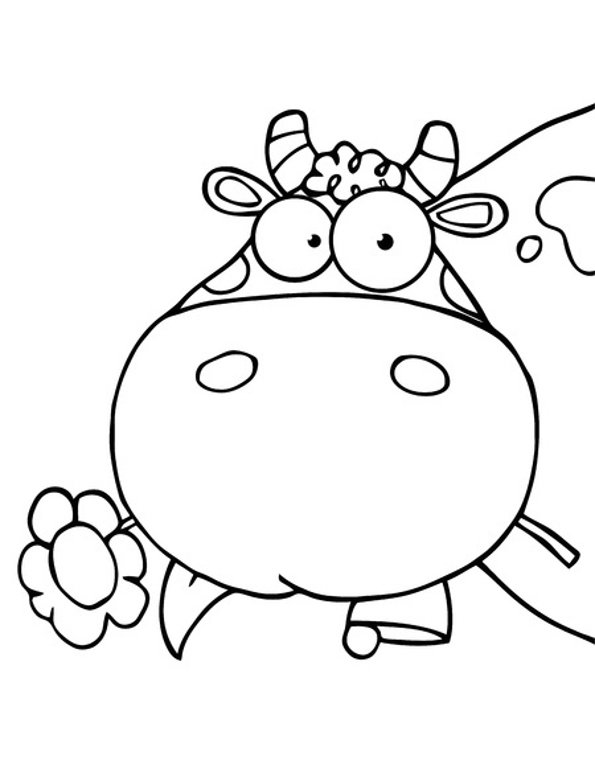Print cow with flower colouring page. Photo © 123RF Chudomir Tsankov.