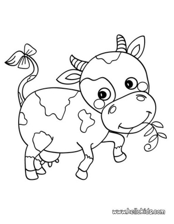 Print cute cow colouring in picture. Photo © www.hellokids.com