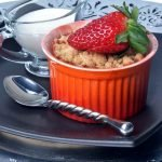 Vegan Strawberry and Citrus Crumble is perfect for a summer's afternoon with a china cup of peppermint infusion, or a glass of bubbly. Photo © Jade 'The Wild Bulb'.