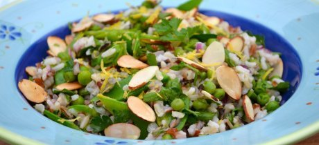 Cool herbs in this refreshing Spring Pea and Wild Rice Salad will convince you that spring is here! Photo © John Eric 'The Vegan Menu'.