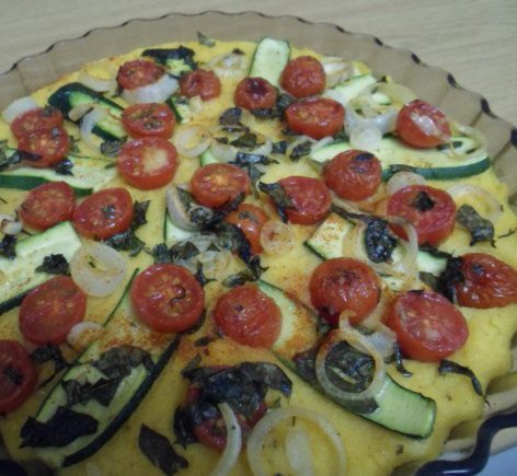 Yummy! A Tomato and Basil Polenta Tart.packed with flavour. Photo © Mel 'Simple Vegan Cooking'.