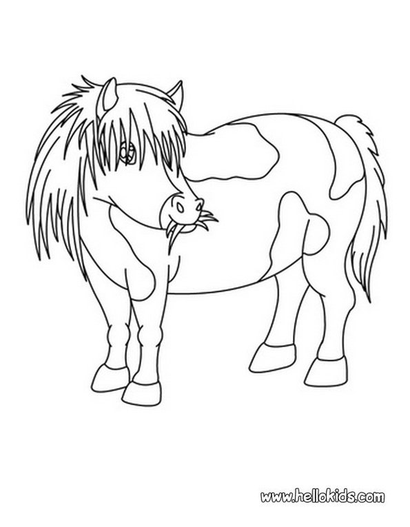 Print pony colouring in picture. Photo © www.hellokids.com