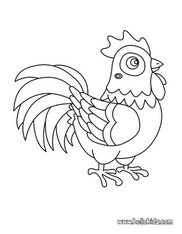 Print rooster colouring in picture. Photo © www.hellokids.com
