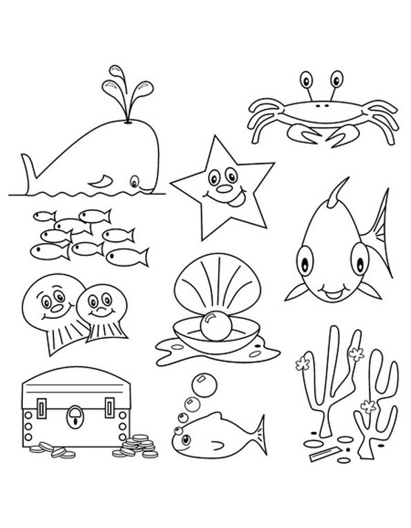 Print sea creature colouring in picture. Photo 123RF mistac.