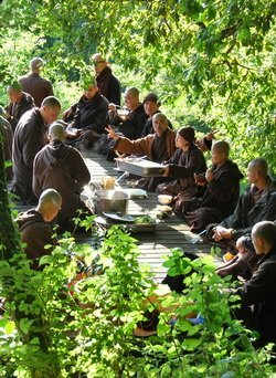Mindful eating together © Plum Village, Thich Nhat Hanh's vegan, buddhist retreat.